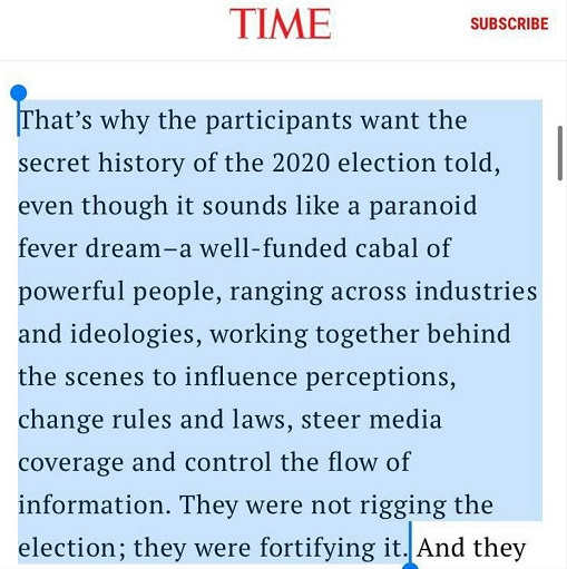quote time maagazine well funded cabal of powerful people rigging fortifying the election