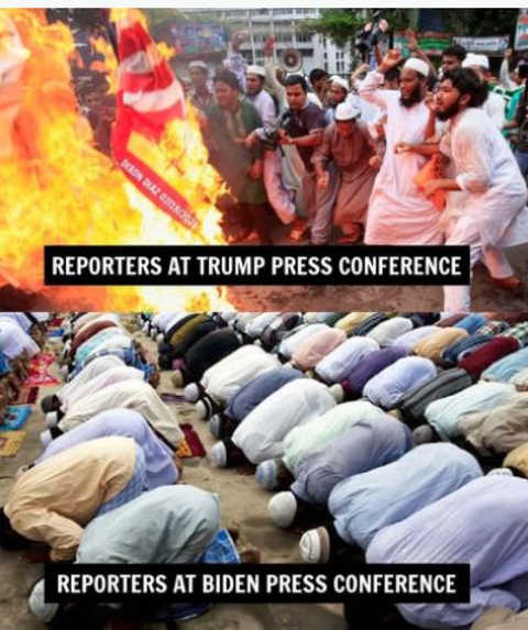 reporters at trump press conference vs biden burning bowing