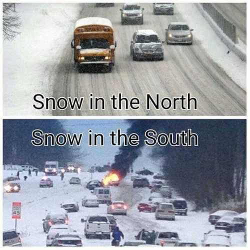 snow in north compare to south accidents