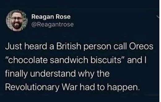 tweet reagan rose british oreos chocolate sandwich biscuits revolutionary war