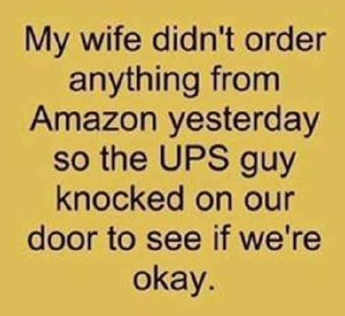 wife didnt order anything from amazon ups guy knocked see if ok