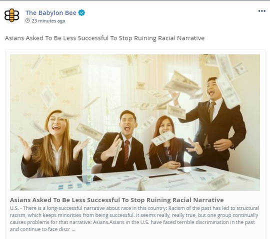 babylon bee asians asked be less successful stop ruiing racial narrative