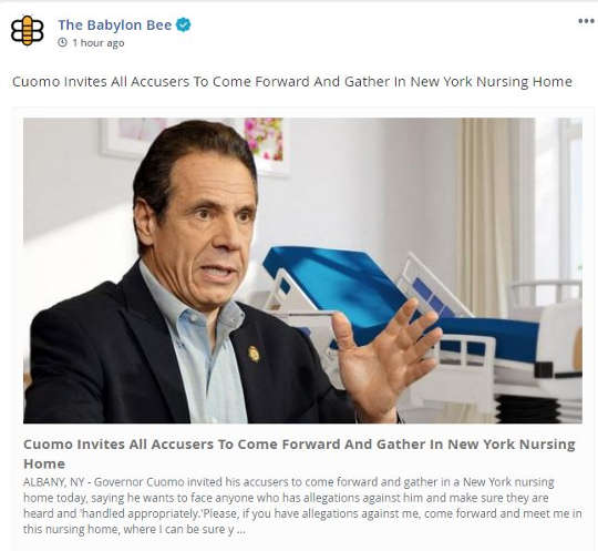 babylon bee cuomo invites all sex accusers stay in ny nursing home
