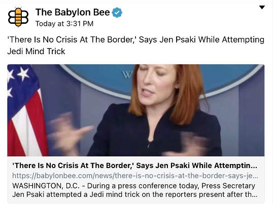 babylon bee jen psaki no crisis at border jedi mind trick