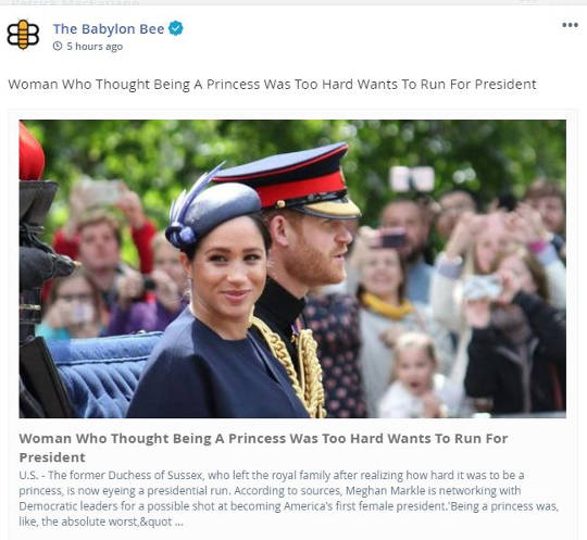 babylon bee markle thought princess too hard run for president