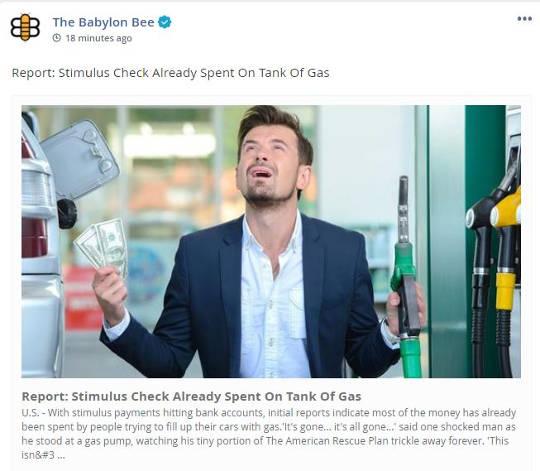 babylon bee stimulus check already spent on tank of gas
