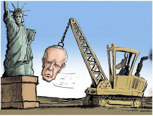 democrats wrecking ball biden statue of liberty