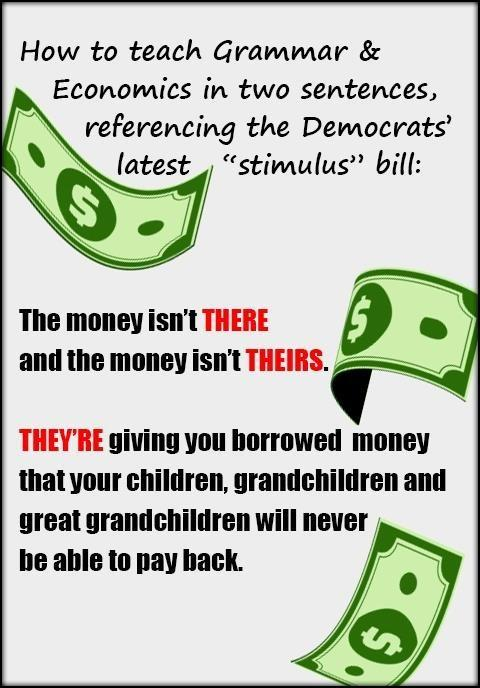 lesson teaching economics grammar kids covid stimulus debt