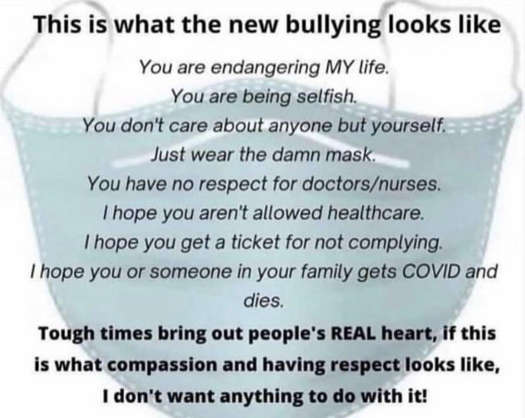 message what new bullying looks like masks