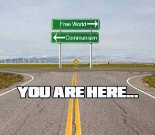 sign you are here intersection communism free world