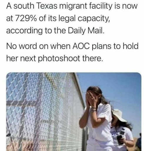 sourth texas migrant facility over legal capacity no word aoc photoshoot
