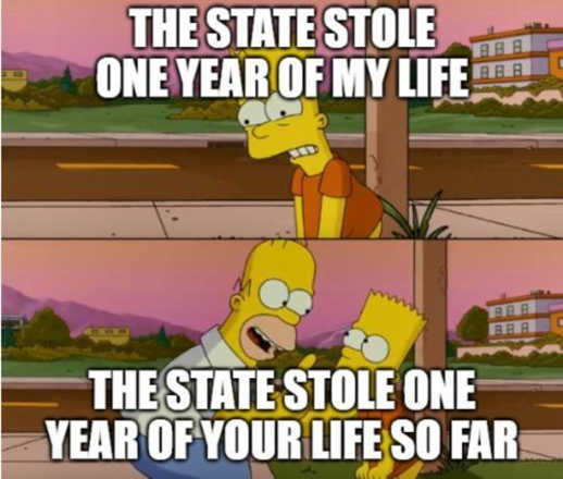 state stole one year of my life simpsons so far