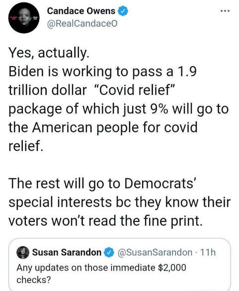 tweet candace owens biden covid relief stimulus