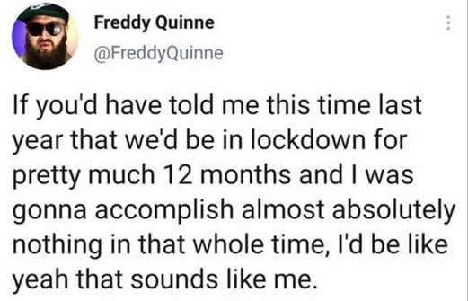 tweet freddy quinne lockdown 12 months accomplish nothing