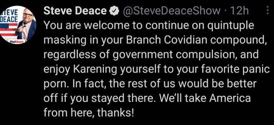 tweet steve deace welcome masking branch covidian