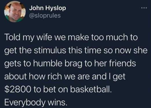 tweet told my wife john hystop stimulus too rich