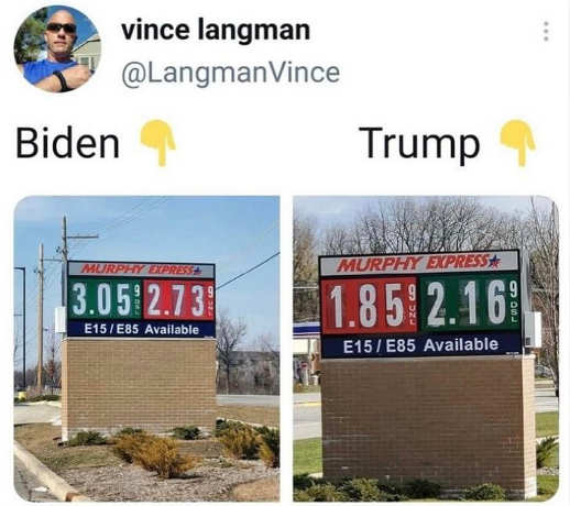 tweet vince langman biden trump gas prices