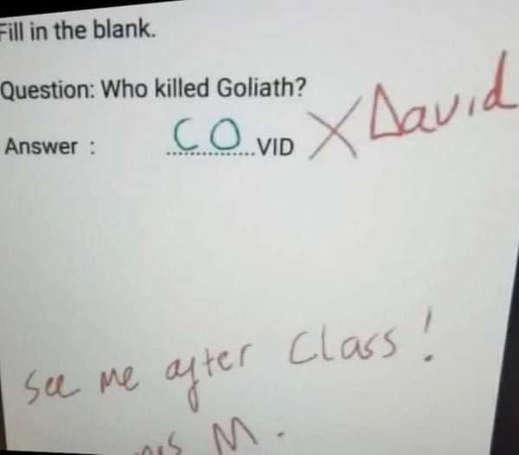 who killed goliath covid david kid answer