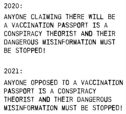 2020 claiming vaccination passport conspriacy theorist 2021 anyone opposed misinformation