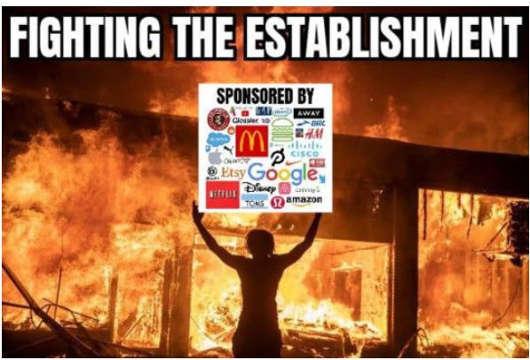 burning looters fighting establishment sponsored by netflix amazon disney sign
