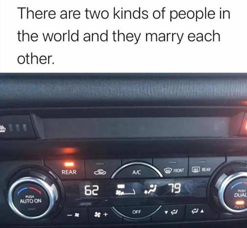 car heater two kinds of people marry each other hot cold