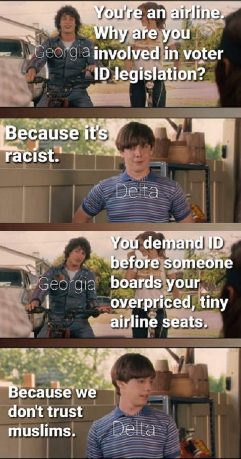 delta dont like georgia id law racist dont like muslims