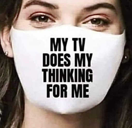 facemask my tv does my thinking for me