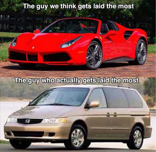 guy we think gets laid most sports car actually minivan