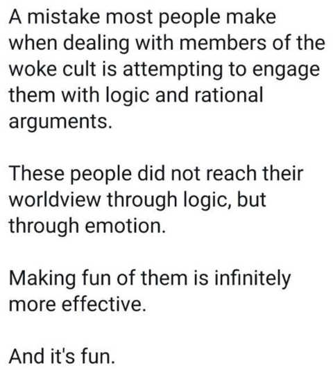 message dealing with woke cult logic rational mistake make fun of them more effective