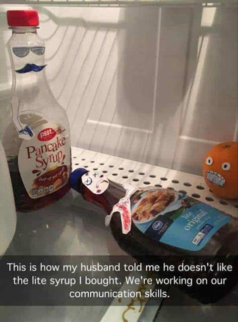 pancake syrup refrigerator lit wife husband communication