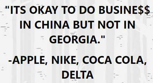 quote okay do business in china but no georgia apple nike coke delta
