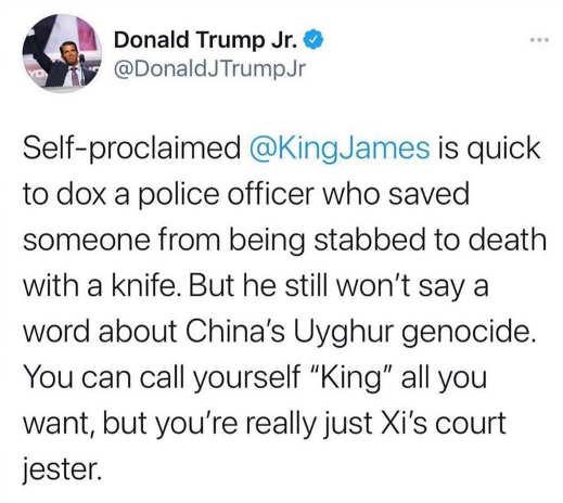 tweet donald trump jr self proclaimed king james police vs china