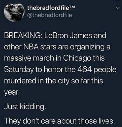 tweet lebron james other nba stars organizing chicago march kidding they dont care