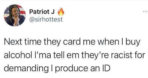 tweet patriot j next time card liquor story id racist
