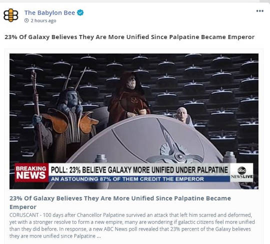 babylon bee emperor palpatine biden galaxy more unified