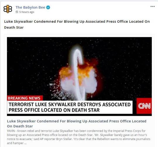 babylon bee luke skywalker condemned blowing up ap office death star