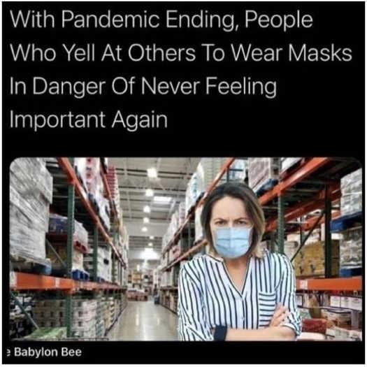 babylon bee pandemic ending people yelling masks never feel important again