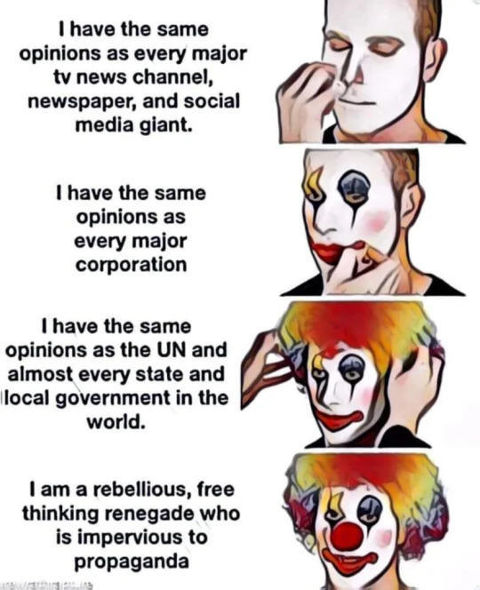 clown have same opinion media corporations un state government rebellious