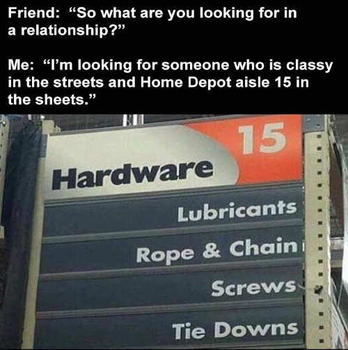 friend relationship lady in street home depot aisle sheets