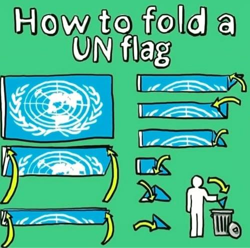 how to fold un flag put in trash