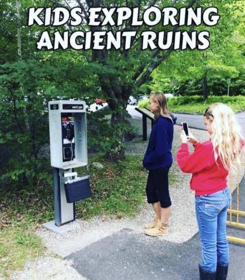 kids exploring ancient ruins payphone