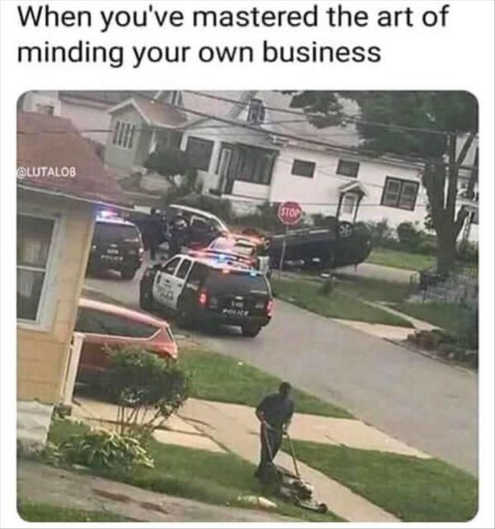 mastered minding own business lawn mowing cops crash