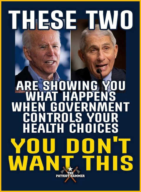 message fauci joe biden showing what happens when government controls health care choices