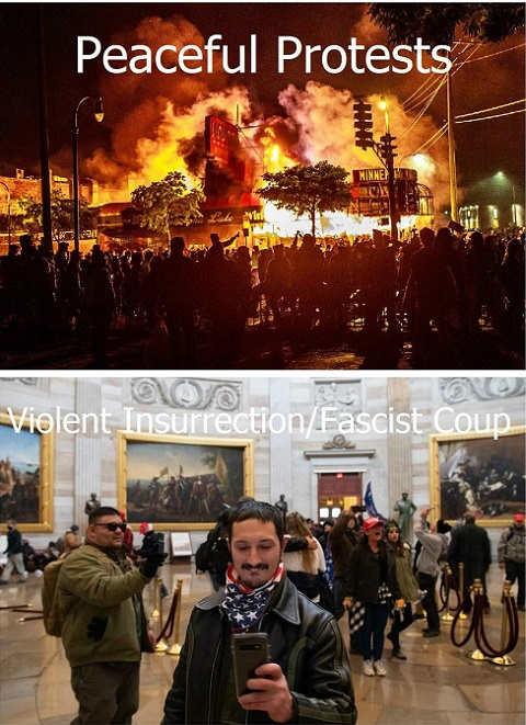 peaceful protests violent insurrection burning selfies fascist coup