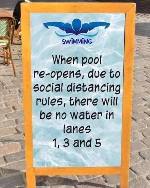 sign when pool opens no water lanes social distancing