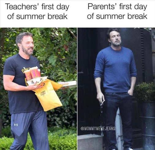 teachers first day summer break parents ben affleck