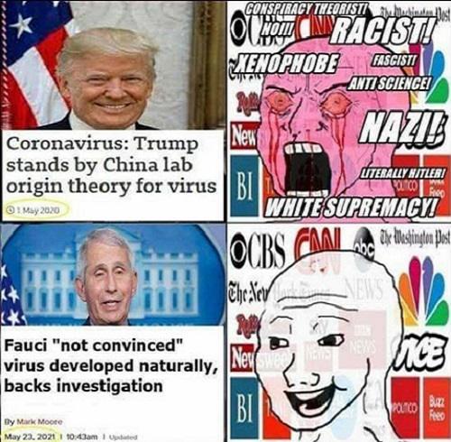 trump china lab fauci investigation media racist conspiracy theorist