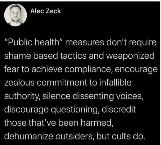 tweet alec zeck public health silence discourage questions dehumanize cults