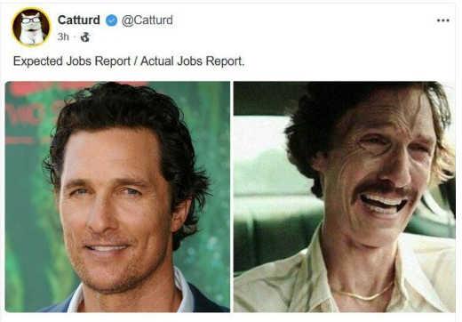 tweet catturd actual expected jobs report mathew mcconahey