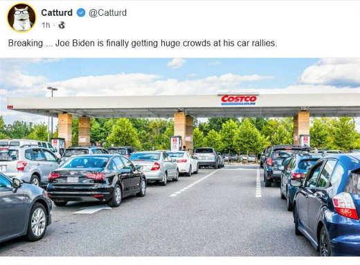 tweet catturd joe biden car rallies gas lines